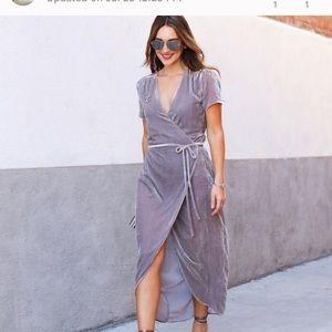 WAYF greysilver Medium velvet wrap dress nwot Maxi